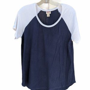 Mossimo Navy Blue & White Short Sleeve Top Size M